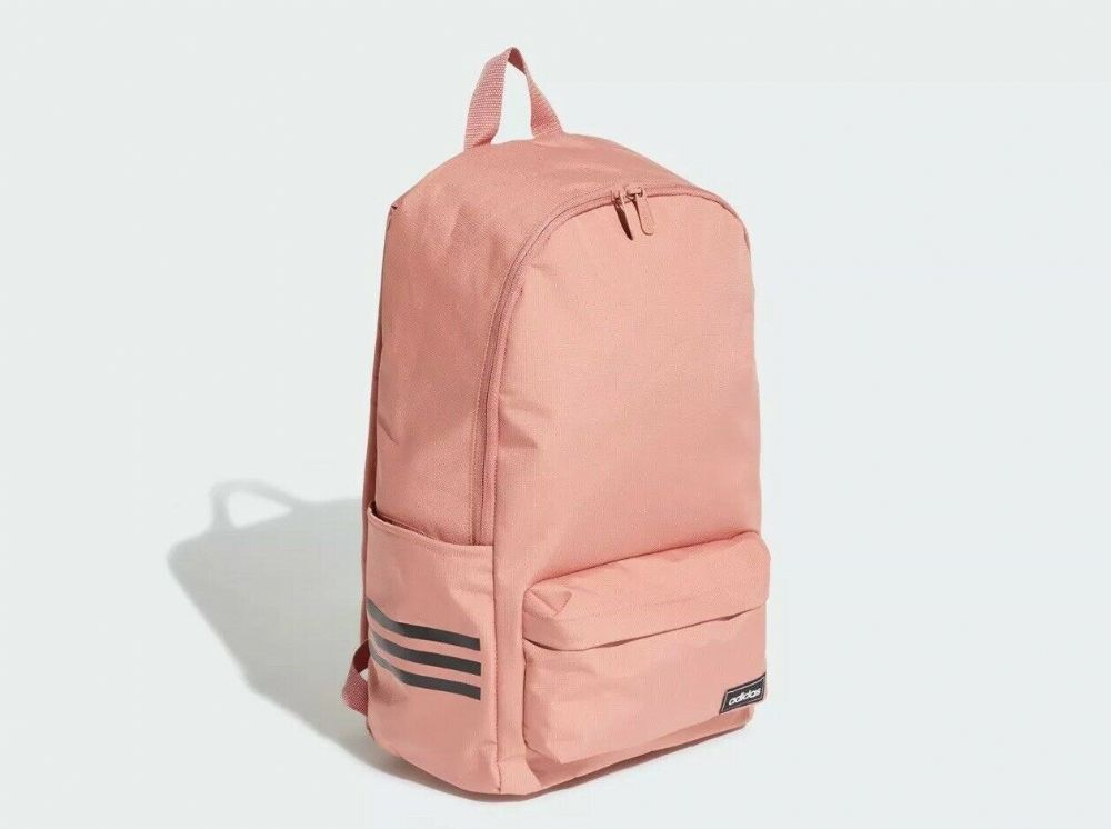 adidas Classic 3-stripe Backpack Rucksack Pink Work Travel Gym School Bag ED0278